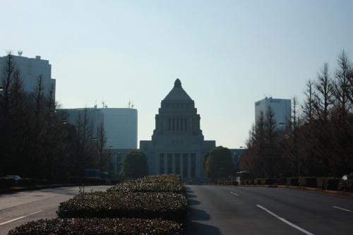 逆光の国会議事堂