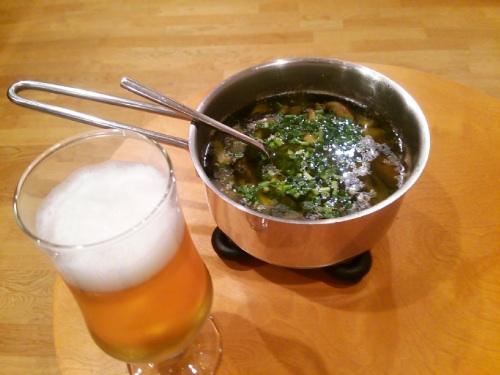 アヒージョとビール